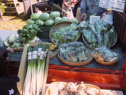 地元農家の方が野菜を売っていました