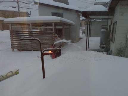 雪が降っていて