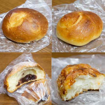 塩バターパンや菓子パン、あんパン、チーズめんたいパン