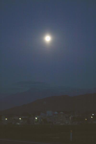 妙高山と月