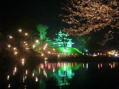 高田城と桜のライトアップ20070407