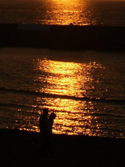 夕日に散歩